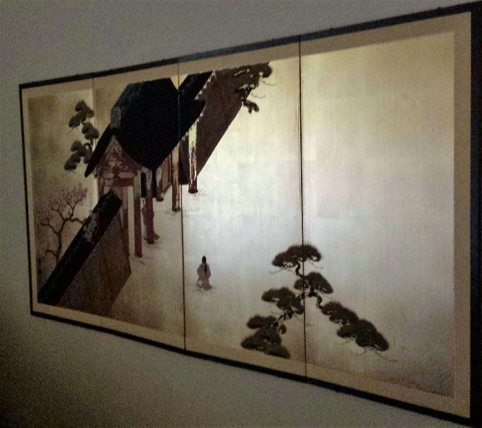 oriental 4-panel hanging silk screen