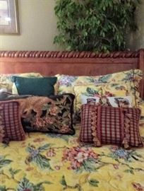 King size sleigh bed headboard with linens