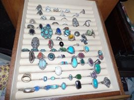 Lots of sterling and turquoise jewelry