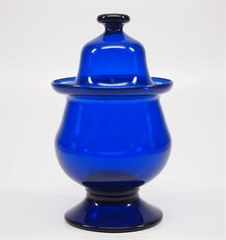19th c American Cobalt Blue covered sugar