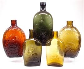 19th c American Flasks