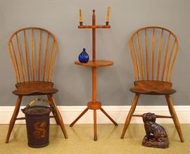 Pair 19th c American Bow back Windsor chairs, 19th c adjustable candlestand, Blue flask, Painted leather fire bucket, Rockingham dog