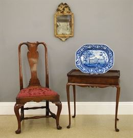 18th Boston QA side chair, 18th c QA Silver table, Early Painted mirror, Blue & White platter with American view