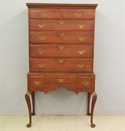 18th Century Connecticut Maple Highboy in Old Red Paint