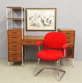 Mid Century Walnut Desk, Knoll Arm Chair