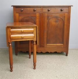Mahogany Sideboard, Cherry Drop Leaf Stand