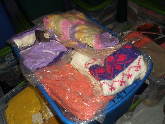 Tubs of Properly stored Vintage Sweaters