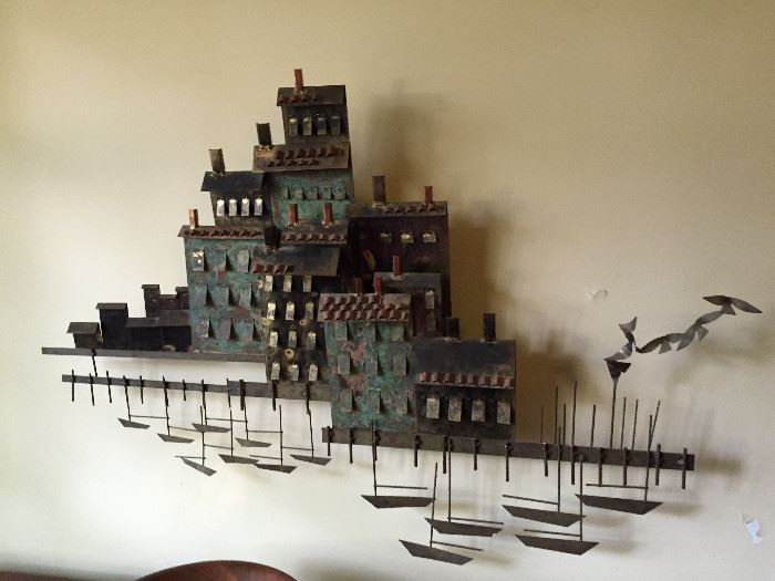 Seaside metal wall sculpture signed by Curtis Jere