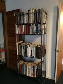 Books We cleared them off and found an amazing Mid Century Chrome and Glass Shelving Unit