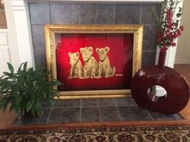 Well know Jack White painted with Gold leaf, these lovely baby lion cubs.