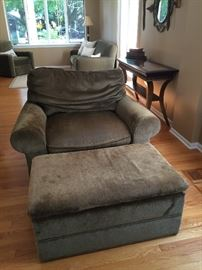 with matching chair and a half with ottoman