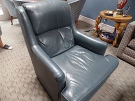 Emerson leather chair and ottoman