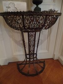 Gorgeous metal art deco demi lune  console