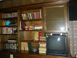 TV, books, records, small TV - works with great picture
