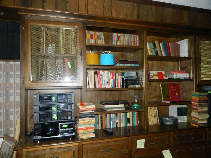 Books, books & books.  Nice electronics. Lp's & 45's in cases