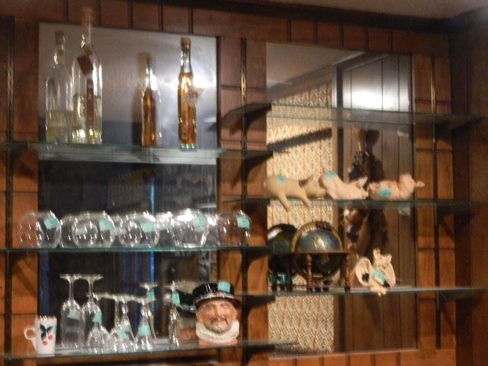 Bar area with additional items such as pigs on shelf (set), globe & more glassware