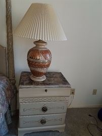 Faux marble top nightstand