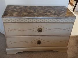 Faux marble top chest