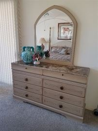 Faux marble top dresser