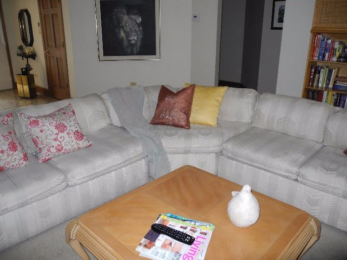 Sectional sofa with sofa bed in the middle