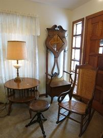 Lamp/Book Table, Vintage Piano Stool, Cane Back/Seat Rocker, Beautiful Hall Tree.  All In Excellent Condition.