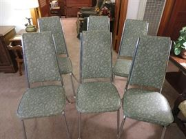 Mid Century Modern Vinyl/Chrome Kitchen Chairs
