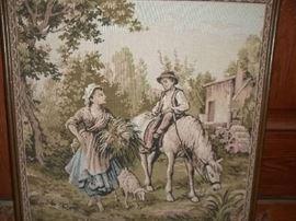 Vintage framed tapestry art
