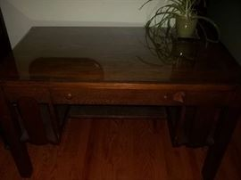 vintage library table and glass top