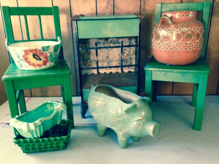 Fun items in green tones