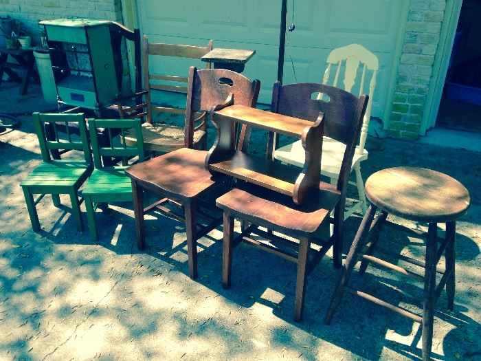Assortment of antique side chairs shelves stools and more