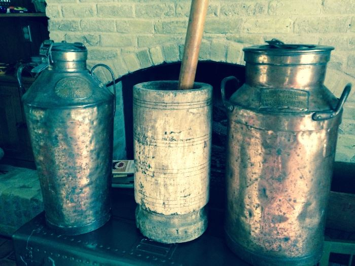 Antique Copper Milk Jugs