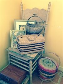 old chair and baskets