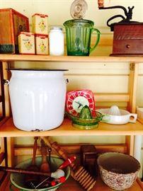 Metal Enamel ware, vintage coffee grinder, butter churn and more