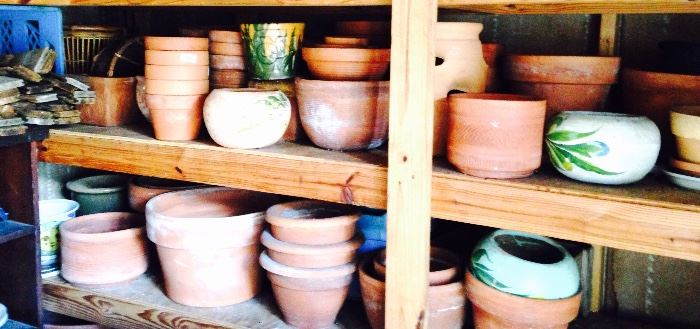 more garden pots then you can shake a stick at!