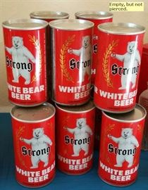 Strong White Bear Beer empty but sealed cans