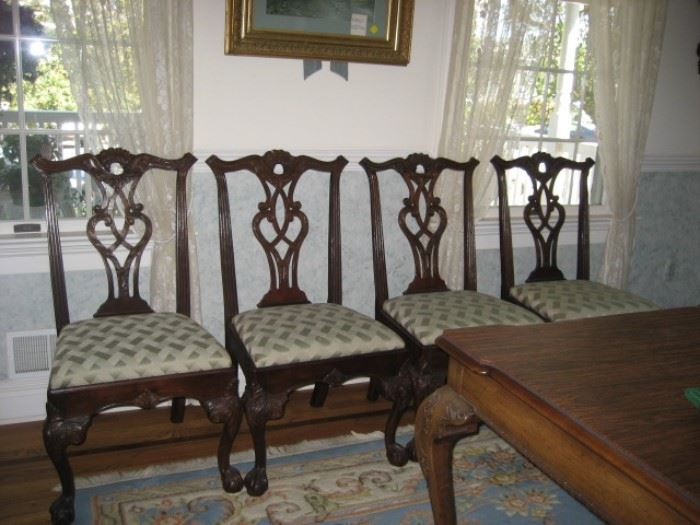 Four of Six Chippendale Style Chairs for Rittenhouse  Square Dining Room