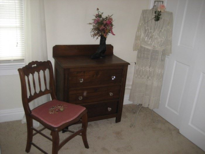 Chestnut Washstand, Vintage Lawn Dress, and Needlepoint Spindle-back Chair