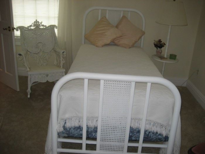 Pair White Iron Twin Beds