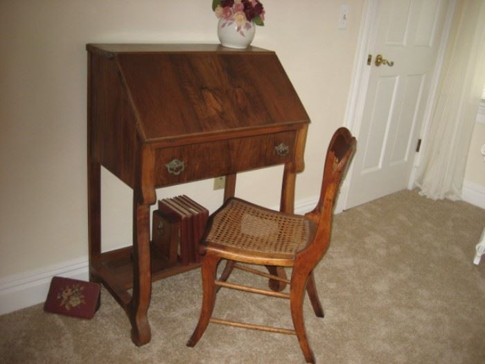 Burled Walnut Slant-front Ladies Desk
