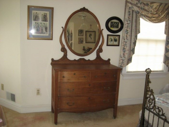 Victorian Oak Ladies Dresser with Carved Harp Mirror