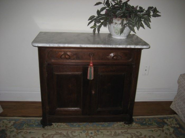 Walnut Marble-top Chest/Washstand