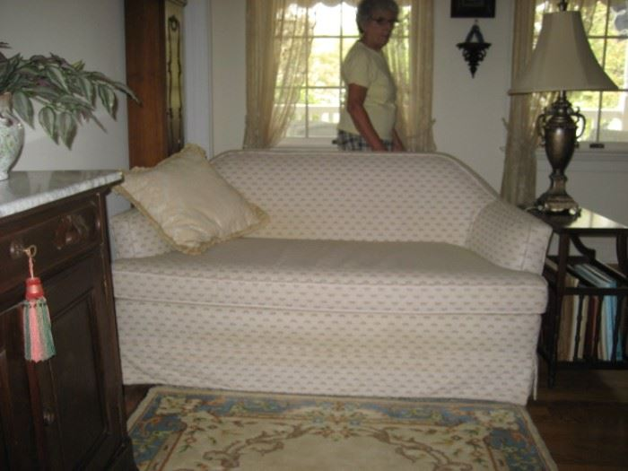 Pair of Ivory Color Upholstered Loveseats