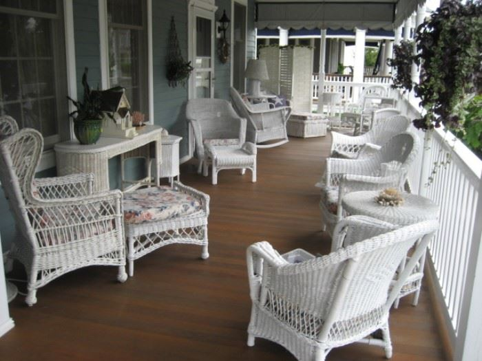 White Wicker Porch Furniture ( 35 pieces in all)