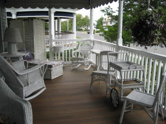 White Wicker Porch Furniture (35 pieces in all)