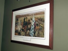 """Dale Gallon signed L.E. print. Number 162/950. """"Greene at Guilford Courthouse"""". Revolutionary war scene."""