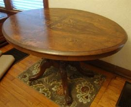 Antique Oval Inlaid Parlor Table