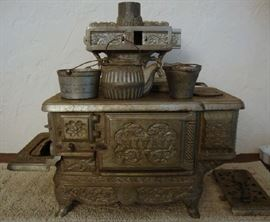 Child's Toy Stove  Ca; 1895 By Rival.  Exceptional Quality with pots and tea kettle