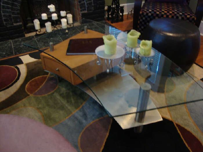 Glass Coffee Table with Drawer