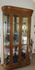 LARGE CURVED GLASS CURIO / LIGHTED