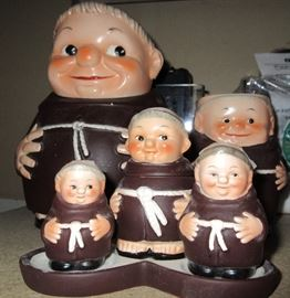 GOEBEL FRIAR TUCK COOKIE JAR / CONDIMENT TRAY AND PIECES / MUGS / CREAMER /